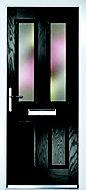 Composite 4 panel Black PVCu & GRP Glazed External Front door & frame RH, (H)2055mm (W)920mm