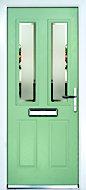 Composite 4 panel Green PVCu & GRP Glazed External Front door & frame LH, (H)2055mm (W)920mm