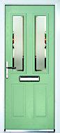 Composite 4 panel Green PVCu & GRP Glazed External Front door & frame RH, (H)2055mm (W)920mm