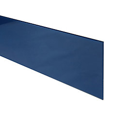 6mm Royal Blue Glass Bathroom Upstand, Bevelled Edge