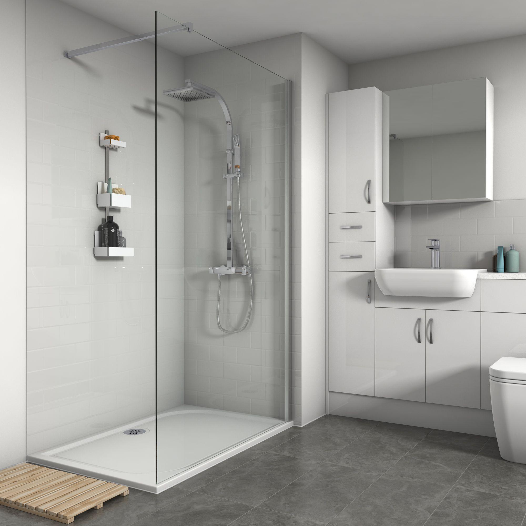 Splashwall Vertical Tile effect Gloss White Shower panel ...