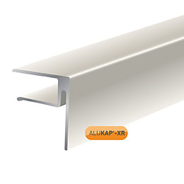 Alukap White Axiome sheet endstop, (H)50mm (W)40mm (L)3000mm