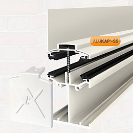Alukap White Axiome sheet glazing bar, (H)140mm (W)60mm