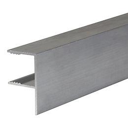 Silver Aluminium Axiome sheet glazing bar 4m x