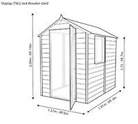 6x4 Shetland Apex roof Shiplap Wooden Shed