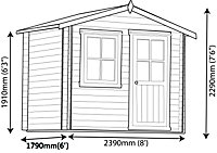 8x6 Hartley 19mm Tongue & Groove Log cabin With assembly service