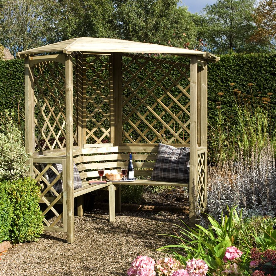 Wooden Garden Benches B Q: Blooma Softwood Corner Arbour