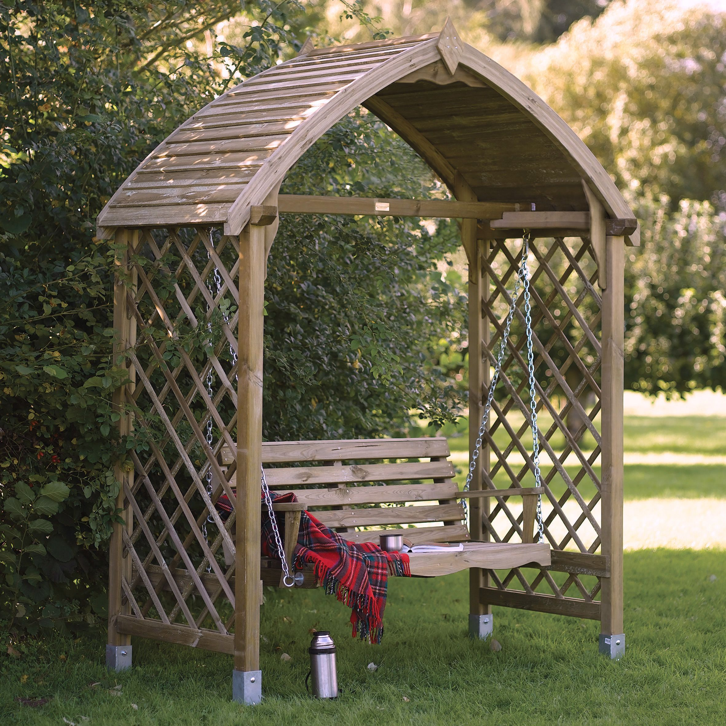 Barmouth Timber Swing Arbour Departments Diy At B Amp Q