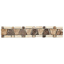 Expresso Emperador Stone effect Mosaic Ceramic Border tile,