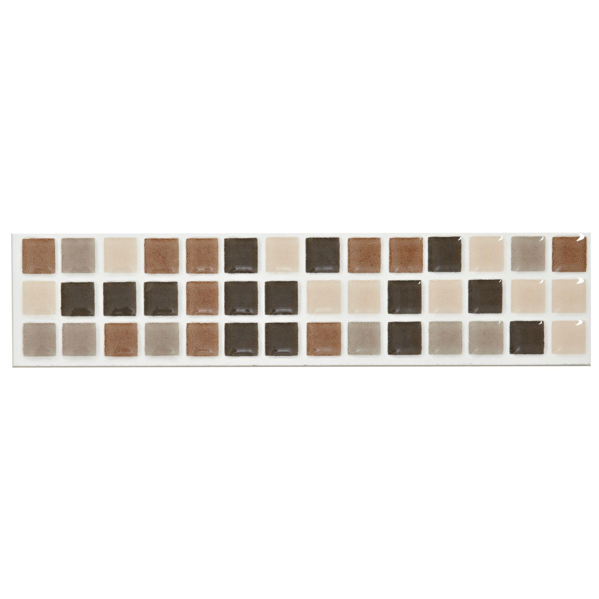 Mini Mosaic Taupe Ceramic Border Tile L 200mm W 45mm Departments Diy At B Q