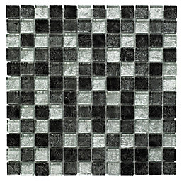 Black Glass Mosaic tile, (L)300mm (W)300mm