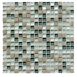 Mini Stone/Glass Grey Glass & Stone Mosaic Tile,