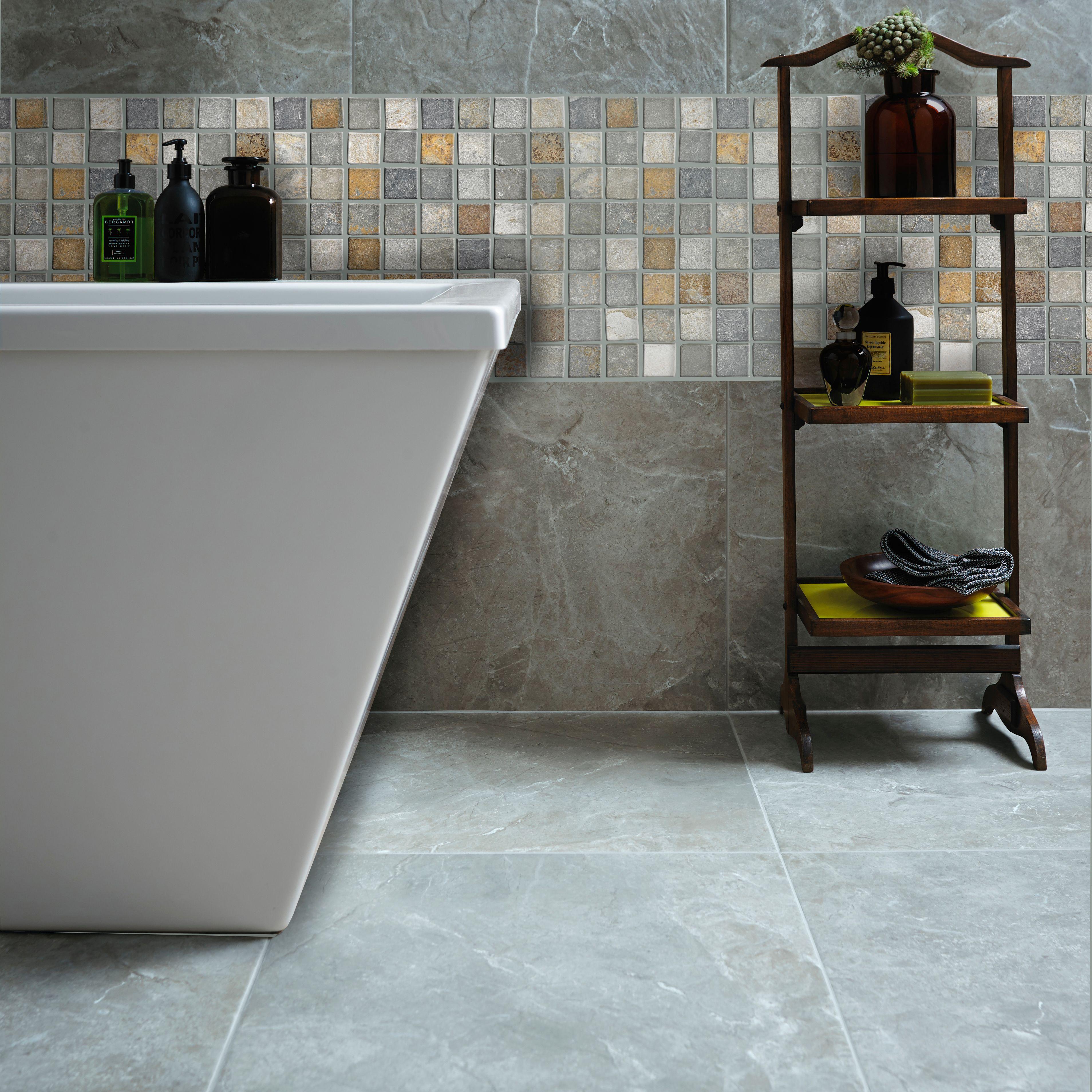 Quartzite slate Grey Slate Mosaic tile, (L)305mm (W)305mm