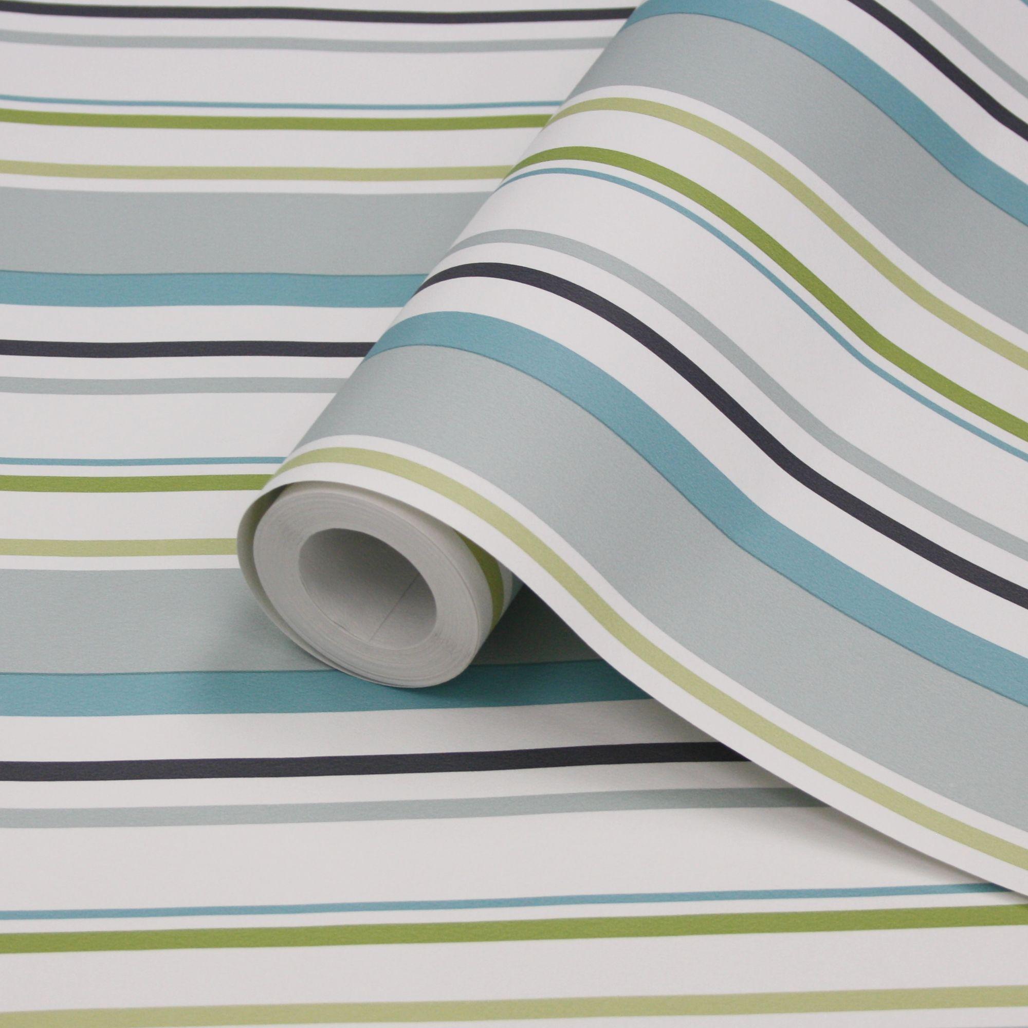 Colours Multi Blue Black Green White Stripe Wallpaper
