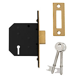 Diall 64mm Polished brass 3 Lever Deadlock