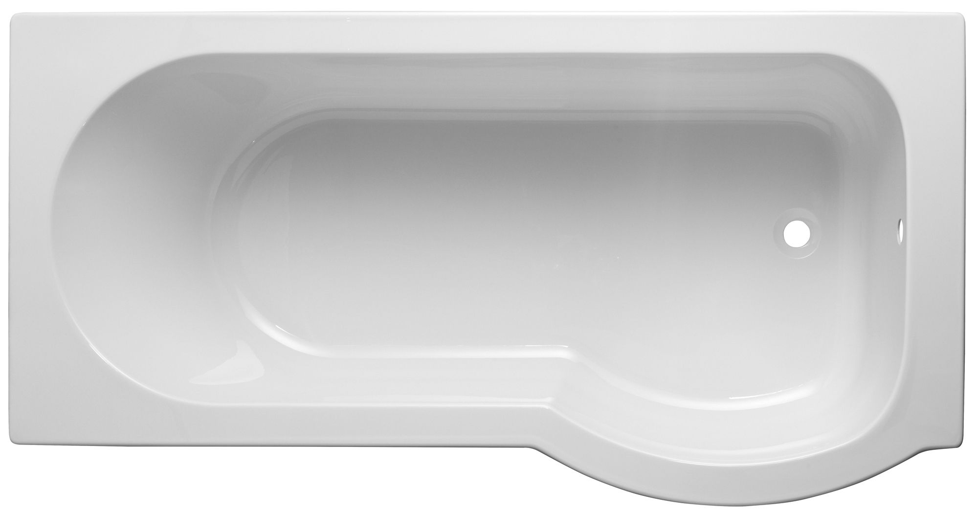Cooke Amp Lewis Ramsay Rh Acrylic Curved Shower Bath L 1675mm W 800mm Departments Tradepoint