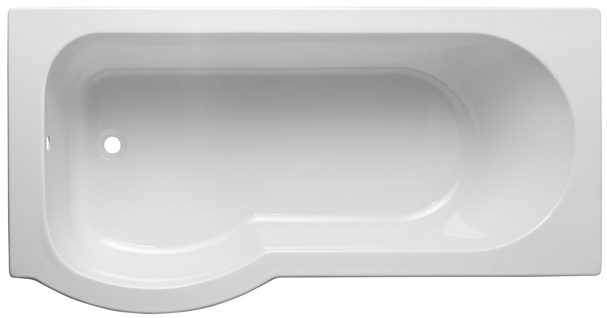 Cooke & Lewis Ramsay LH Acrylic Curved Shower Bath (L)1675mm (W ...