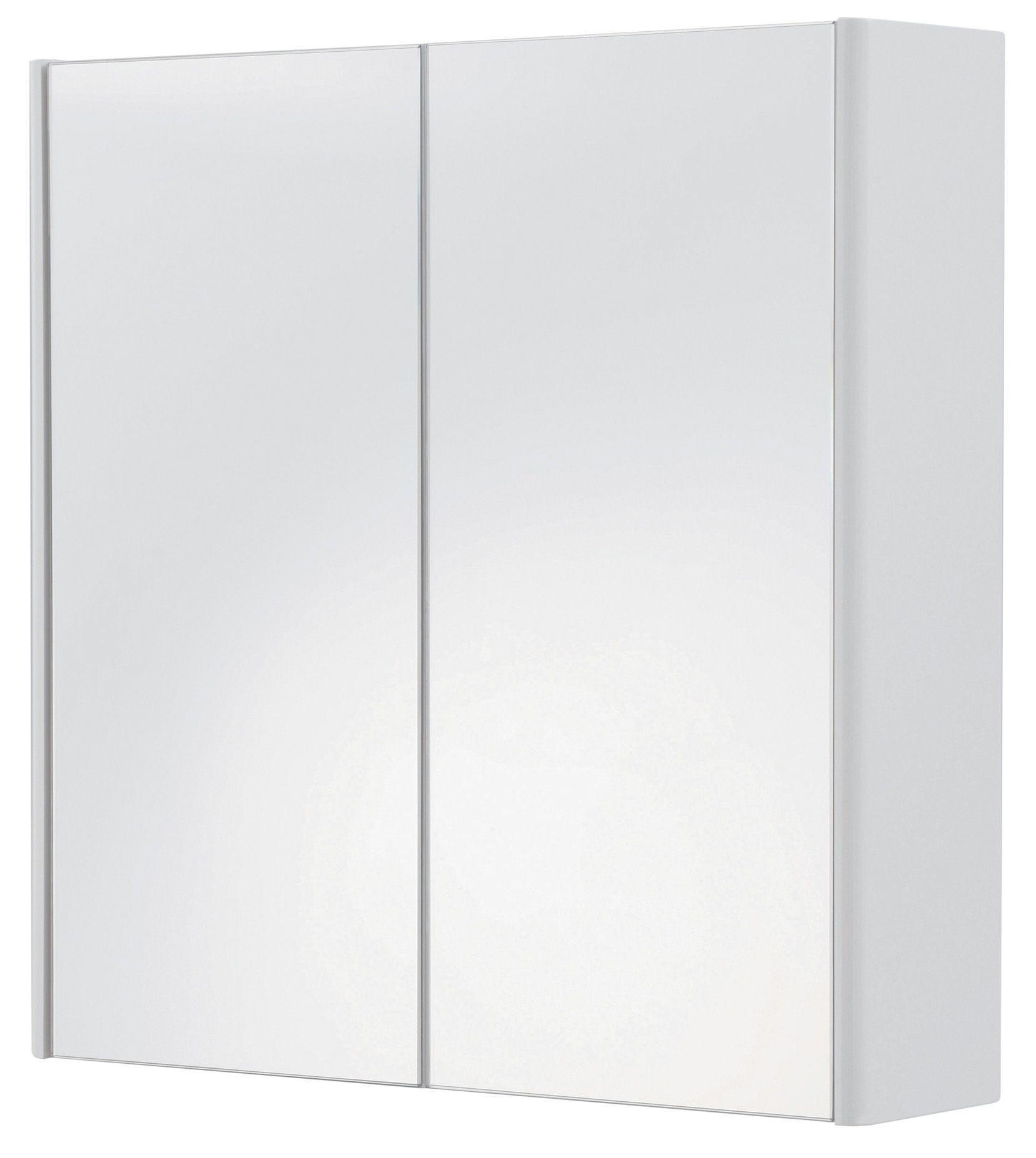 Cooke & Lewis Tobique Double door White Mirror cabinet ...