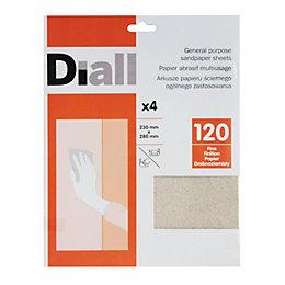 Diall 120 Fine Sandpaper Sheet, Pack of 4