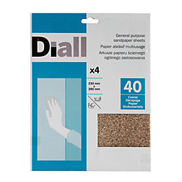 Diall 40 Coarse Sandpaper Sheet, Pack of 4