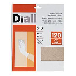 Diall 120 Fine Sandpaper Sheet, Pack of 10