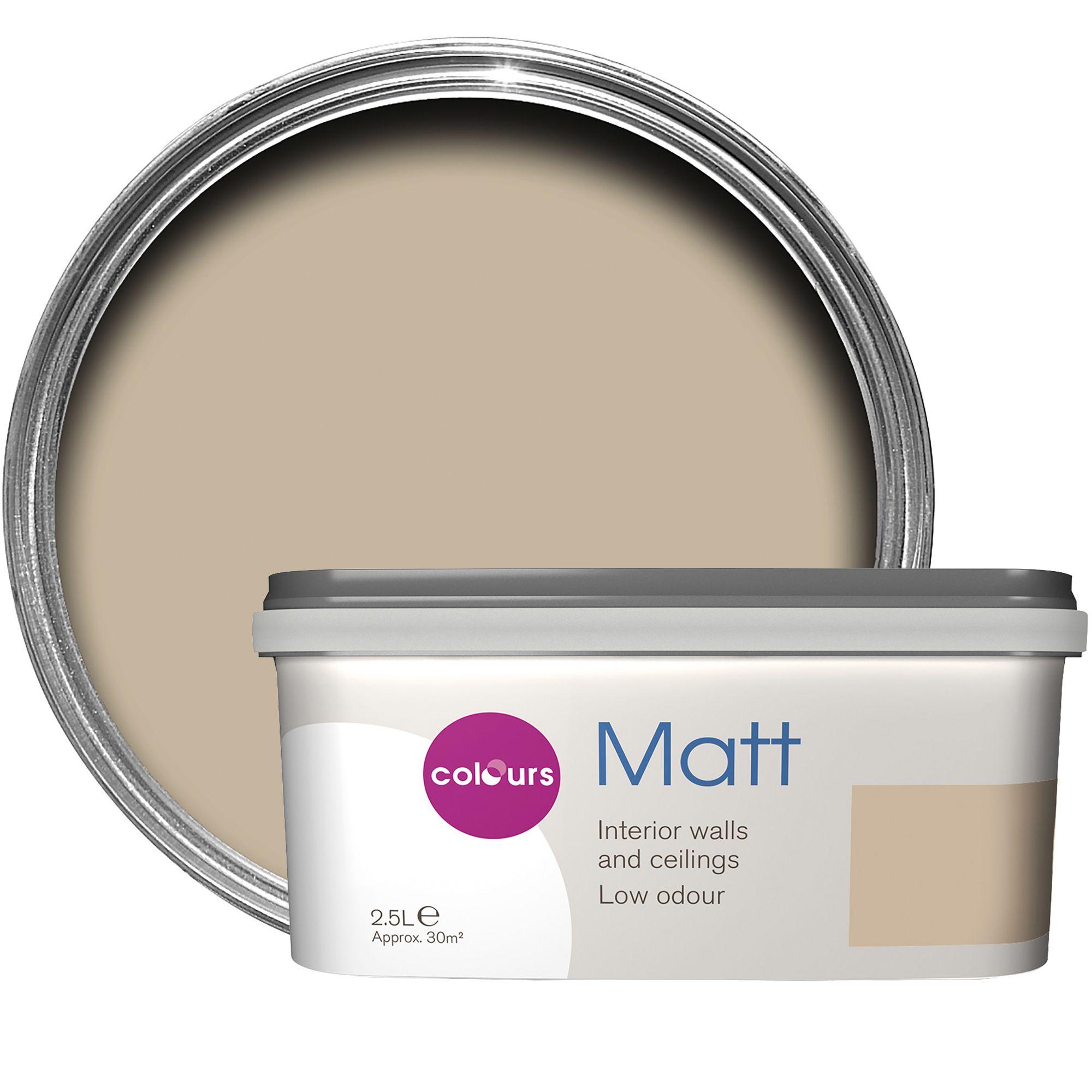 Colours warm beige matt emulsion paint 2 5l departments for Klebefolie beige matt