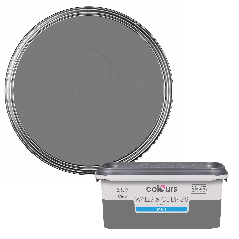 Colours Standard Grey Slate Matt Emulsion Paint 2.5L | Departments | DIY at  B&Q