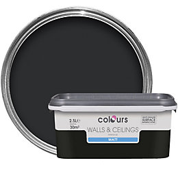 Colours Standard Black Matt Emulsion paint 2.5L