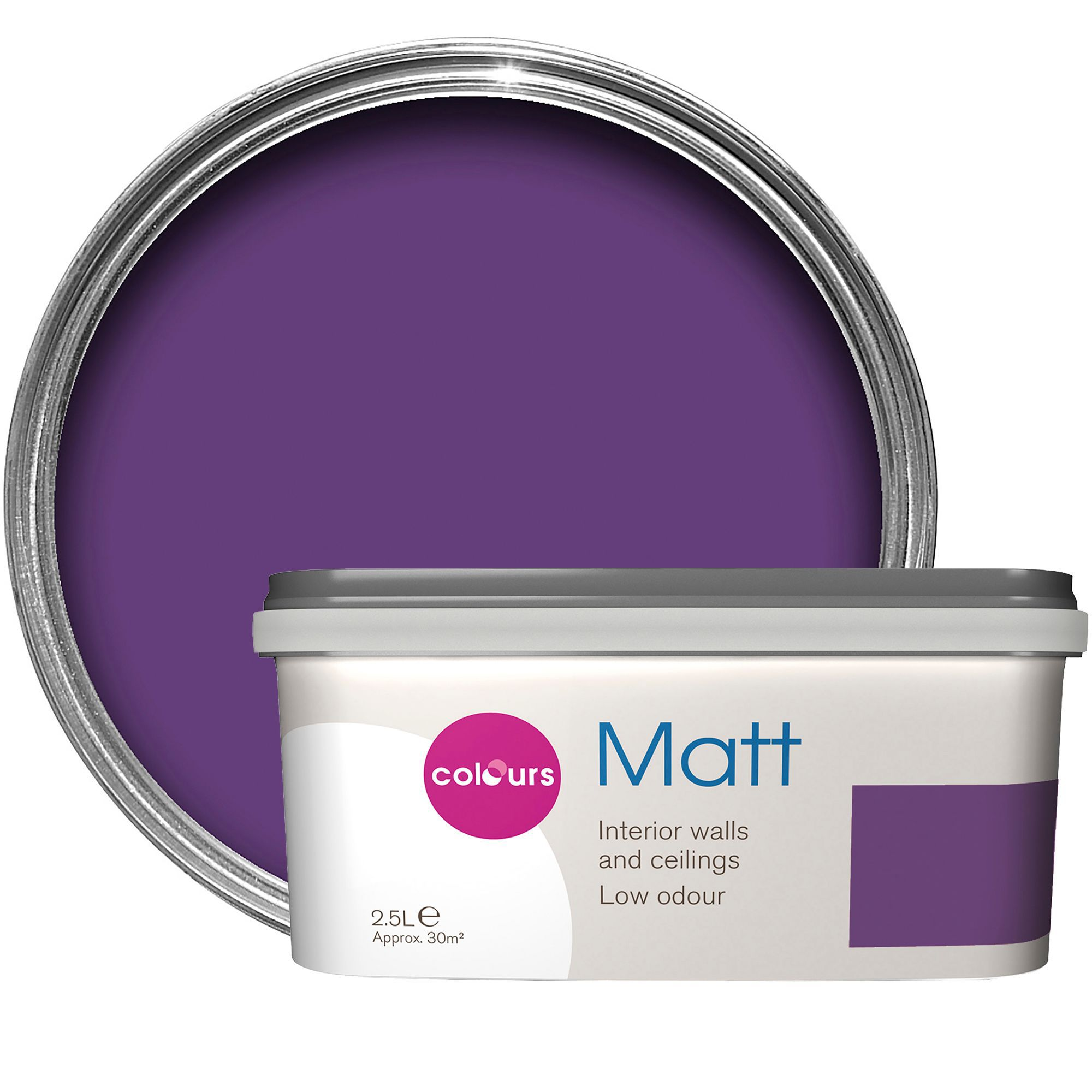 Colours Violet imperial Matt Emulsion paint 2 5L | Departments | DIY at B&Q