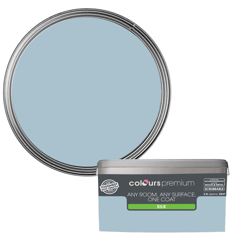 Colours Premium Ciel Silk Emulsion Paint 2.5L | Departments | DIY at B&Q