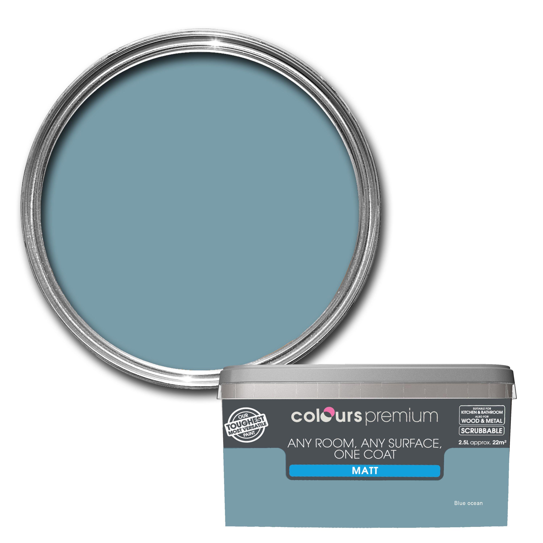 Colours Premium Blue Ocean Matt Emulsion Paint 2.5L | Departments | DIY at  B&Q