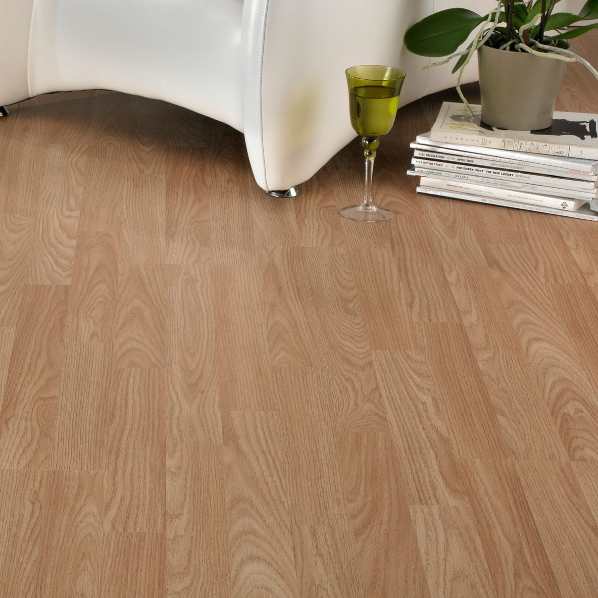 Oak Effect 3 Strip Laminate Flooring M Pack Departments Diy At B Q