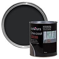 Colours One coat Black Gloss Wood & metal paint 0.75L