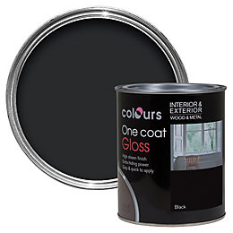 Colours One Coat Interior & Exterior Black Gloss