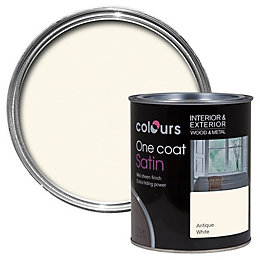 Colours One coat Antique white Satin Wood &