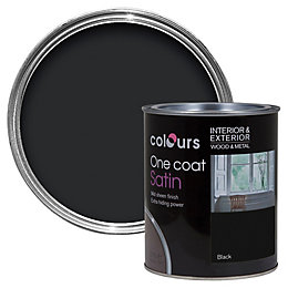 Colours One coat Black Satin Wood & metal