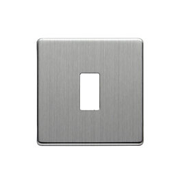 Colours Single Brushed Steel Switch Front Plate