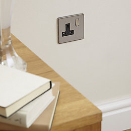 Colours Single Brushed Steel Socket Front Plate