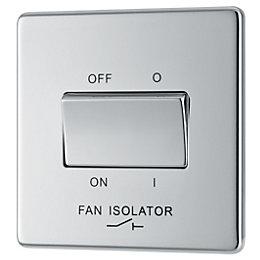 Colours 10A Single Polished Chrome Fan Isolator Switch