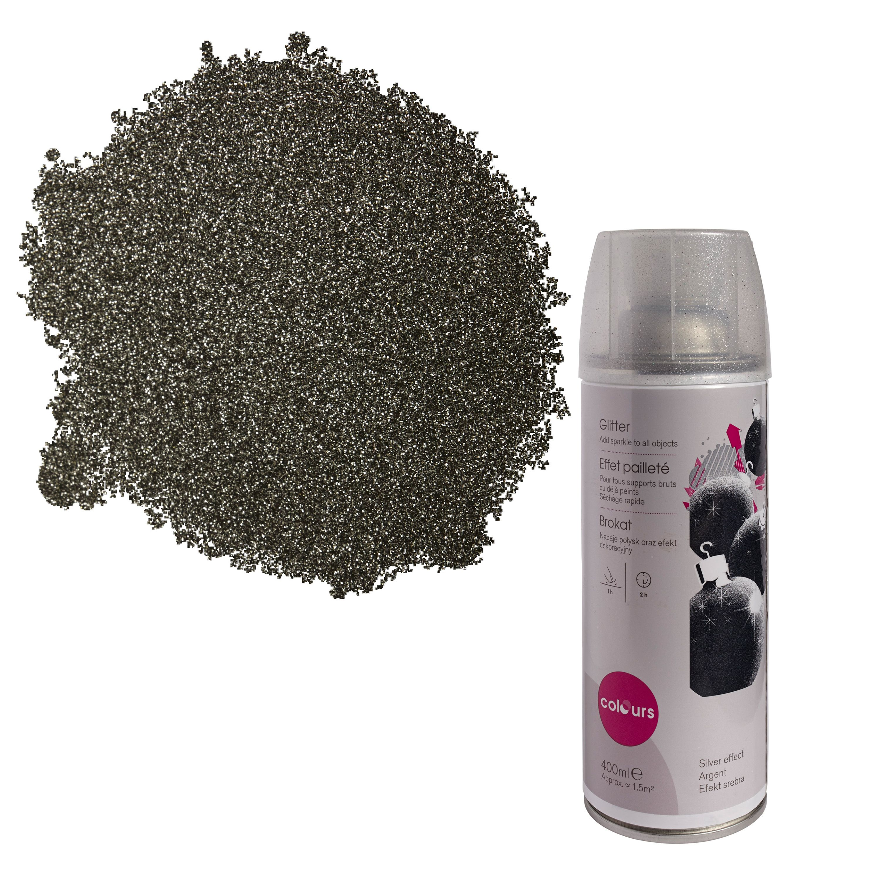 Colours Silver Glitter Effect Spray Paint 400 Ml Departments Diy At B Amp Q