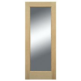 1 Panel Shaker White Oak Veneer Glazed Front