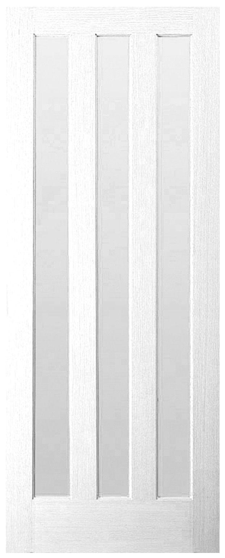 Etonnant Vertical 3 Panel Primed Smooth Glazed Internal Standard Door, (H)1981mm  (W)686mm | Departments | DIY At Bu0026Q