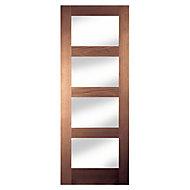 4 Panel Shaker Walnut veneer Internal Door, (H)1981mm (W)686mm
