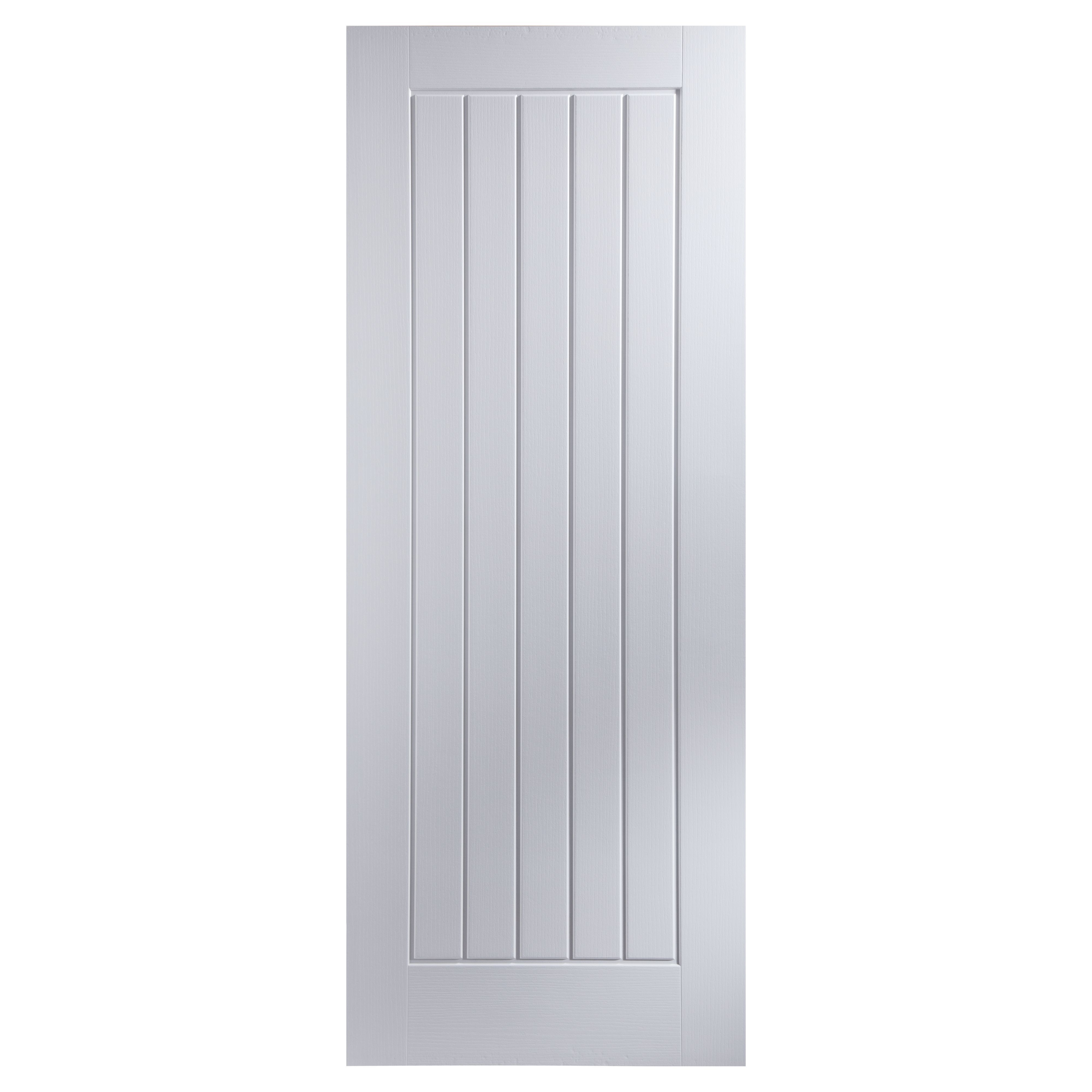 Cottage Panel Primed Woodgrain Unglazed Internal Fire Door H