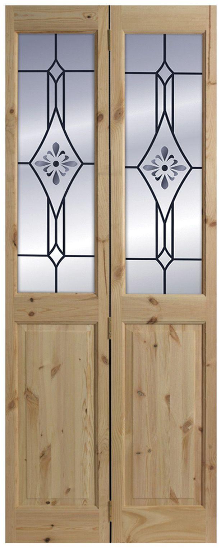 4 Panel Knotty Pine Glazed Internal Bi Fold Door H