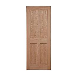 4 Panel Oak Veneer Internal Unglazed Door, (H)2032mm