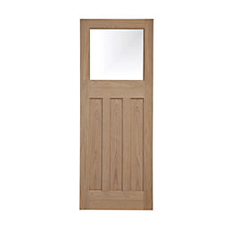 Traditional Panelled Oak Veneer Glazed Internal Door, (H)1981mm