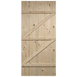 Cottage Panel Ledged And Braced Knotty Pine Unglazed