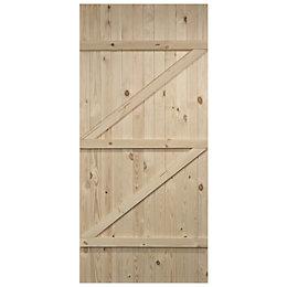 Cottage Panel Ledged And Braced Knotty Pine Unglazed
