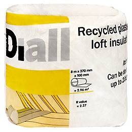 Diall Loft insulation roll, (L)8m (W)0.37 m (T)100mm